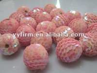 2012 Lovely pink sequin beads for jewelry making, high quality christmas beads sequin