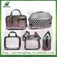 pvc cosmetic bag sets with 210D lining and printing