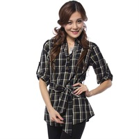 women cotton plaid buttoned shirt long body yarn dyed checked shirts
