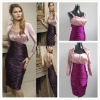Knee-Length Sheath Ruffle Purple Taffeta Mother Of Bride Dress