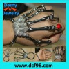 Silvery skull Skeleton finger hand rings bone bracelet rock punk gift lady gaga