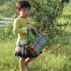 Shiny PE handmade woven children bag