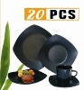 Stoneware Square black 20pc dinner set