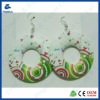 Fresh and elegant printing wooden earrings