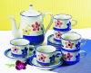 17pcs handpainted stoneware tea set