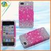 Hot Pink Splash Silver Bling Hard Plastic Case For iphone 4G 4S Hard Bling Plastic Phone Diamond Crystal Case