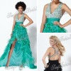 Halter A-line Anke length ruffle waist evening Chiffon beaded evening short in front long in back dresses dress