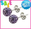 shamballa crystal balls stud earrings 10mm,fashion wholesale shamballa ball hoop earrings