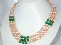 7-8mm pink round freshwater pearl necklace with green jade beads