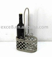 2 Places Oval Metal Wine Holder