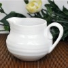 stock pure white creamer pot with stripe embossment