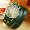 Hot !! Double Leather Strap Green Plain Watches Fashion