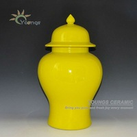 High Temerature Fired Large Ceramic Yellow Paint Storage Jars