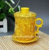 ceramic cup with gold decal