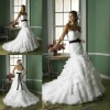 Elegant tiered organza sweetheart fishtail wedding dress patterns