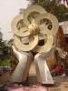 stainless steel flower shape garden sculpture