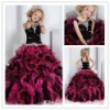 Black and HOT Pink Ball gown organza girls party dresses