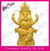 Brass gold plated craft India hindu god lord Ganesha statue