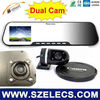 Double camera 720P Rearivew mirror DVR with G-sensor and Microphone&time display car blackbox
