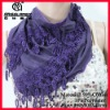 2011 Pure color Classical Triangle Scarf with leaves style tassels