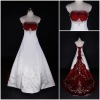Distinctive Modest Floor Length Sheer Cap Sleeve Beading White And Red A-Line Satin Court Train Wedding Dress With Embroidery