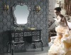 Matte Black color Antique wooden bathroom mirror paste silver foil vanity cabinet D6047