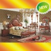 EX013 2012 New style solid wood top grain leather bedroom set