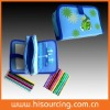 colouring set in triple pencil case