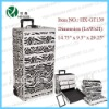 Zebra Aluminum Rolling Makeup Trolley Cosmetic Train Case Hair Style Lockable Box
