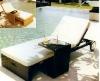 Rattan beach chair loungue with wheel