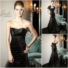 JM0173 Black ruffled shot sleeve jacket mother of the bride dress