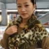 leopard print mink fur shawl fur hooded scarf