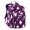 Stylish Purple And White Checked Girls Backpack