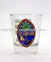 shot glass with colorful decal