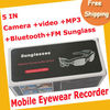 Free Shipping 4GB Headset Sunglass with DV/ MP3/Camera/Bluetooth/FM moq=1