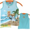 beautiful colour and print cotton tank top for kids