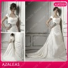 AZ0209 Gap Sleeve Handmade Flowers Court Sheath wedding dress for mature bride