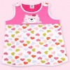 Two layers pure cotton printed & embroidered cat pattern vest style baby sleep bag