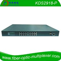 16 port PoE Switch with 14 10/100/1000Base-TX ports and 2 combo ports