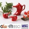 3 pcs porcelain tea set with red glaze