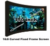 Golden Manufacturer 16:9 format 150 inch curved fixed sliver projection screen for school and office/ 3D home theatre
