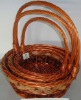 3pcs Round Wicker Basket With Handle