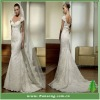 Elegant Fashion Cap Sleeve Mermaid Lace White Wedding Dress