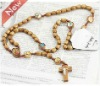 Wooden beads necklace jewelry with cross pendant