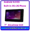 "3g phone enabled tablet pc GSM HDMI android4.0 Allwinner A10 7""(7A16)"