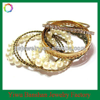 New European Style Fashion Pearl Gold Bangle Bracelets Set