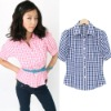 Fashion New Cool Lattice Casual  Blouse Tops (Paypal!)short sleeve blouses