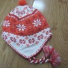 knitted hat with earflap,Jacquad hat with flap