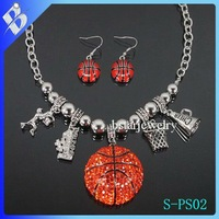 new design basketball sport colored rhinestone lead and nickel safe alloy fashion costume fashion jewelry sets