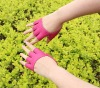 V149 fashion ladies fingerless pink leather driving gloves